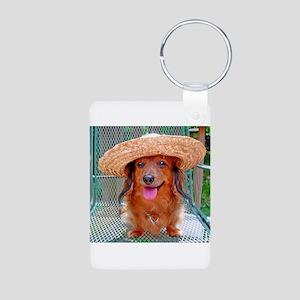 Vacation Doxie Aluminum Photo Keychain
