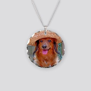 Vacation Doxie Necklace Circle Charm