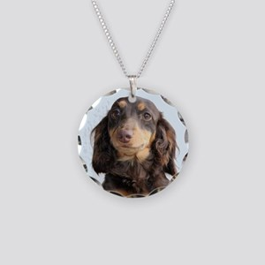 Long Hair Doxie Necklace Circle Charm