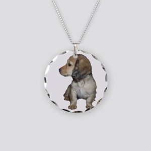Longhair Doxie Puppy Necklace Circle Charm