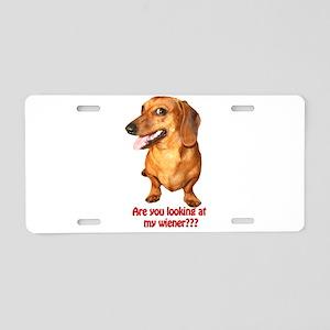 Looking at My Wiener Dachshun Aluminum License Pla