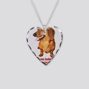 Looking at My Wiener Dachshun Necklace Heart Charm