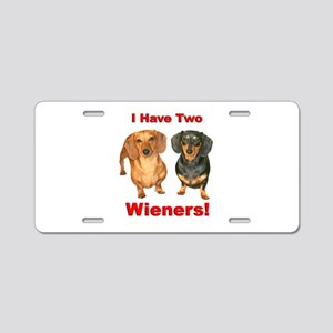 Two Wieners Aluminum License Plate