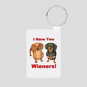 Two Wieners Aluminum Photo Keychain