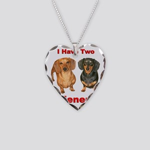 Two Wieners Necklace Heart Charm