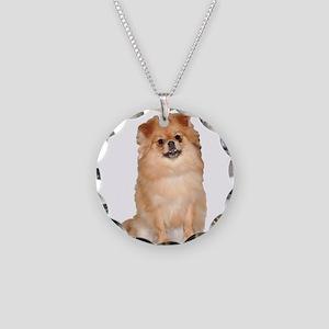 Pomeranian Red Dog Necklace Circle Charm