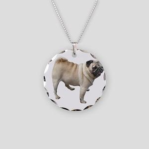 White Pug Dog Necklace Circle Charm