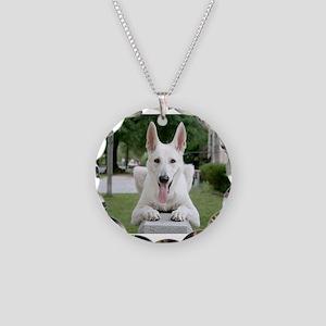 White German Shepard Necklace Circle Charm