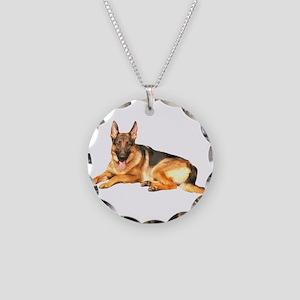 German Shepard Dog Necklace Circle Charm