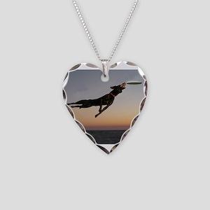 Beach Frisbee Necklace Heart Charm