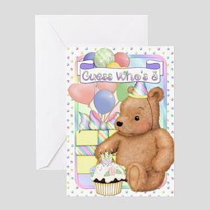 Third Birthday Teddy Greeting Card