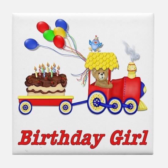 Birthday Train - Girl Tile Coaster
