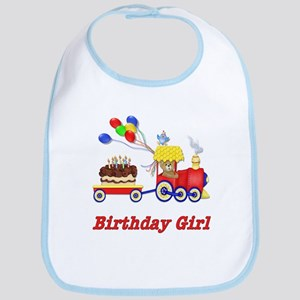 Birthday Train - Girl Bib