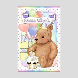 Third Birthday Teddy Mini Poster Print