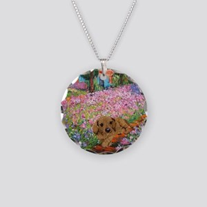 Garden Doxie Necklace Circle Charm