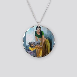 Doxie Lady Necklace Circle Charm