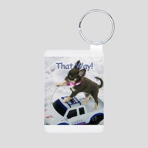 Chihuahua Trucker Aluminum Photo Keychain