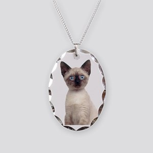 Siamese Necklace Oval Charm