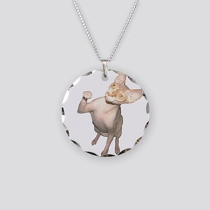 Hairless Cat Necklace Circle Charm