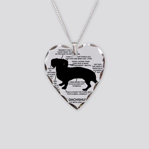 Dachshund Chart Necklace Heart Charm