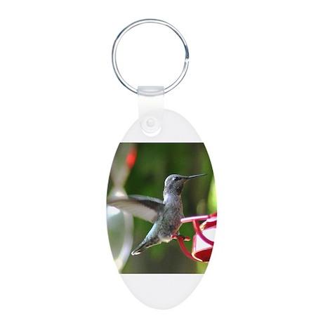 Humming Bird and Feeder Aluminum Oval Keychain