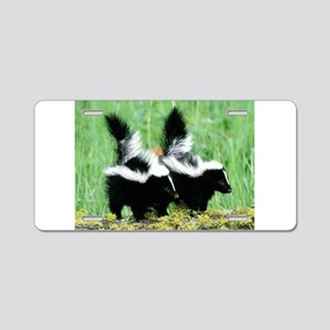 Two Skunks Aluminum License Plate