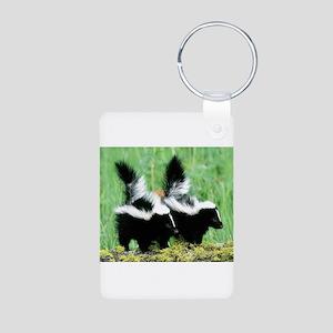 Two Skunks Aluminum Photo Keychain