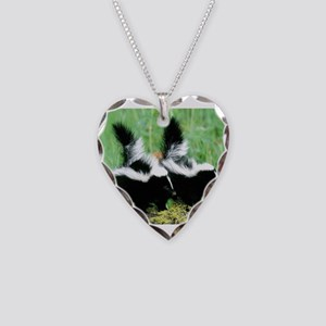 Two Skunks Necklace Heart Charm