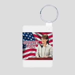 Country First Aluminum Photo Keychain