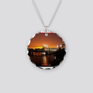 Pittsburgh Sunset Necklace Circle Charm