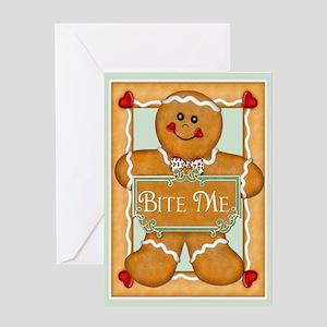 Gingerbread Man - Bite Me Greeting Card