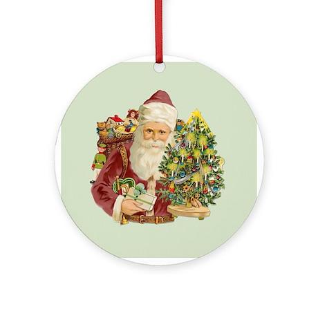 Santa and Small Tree Ornament (Round)
