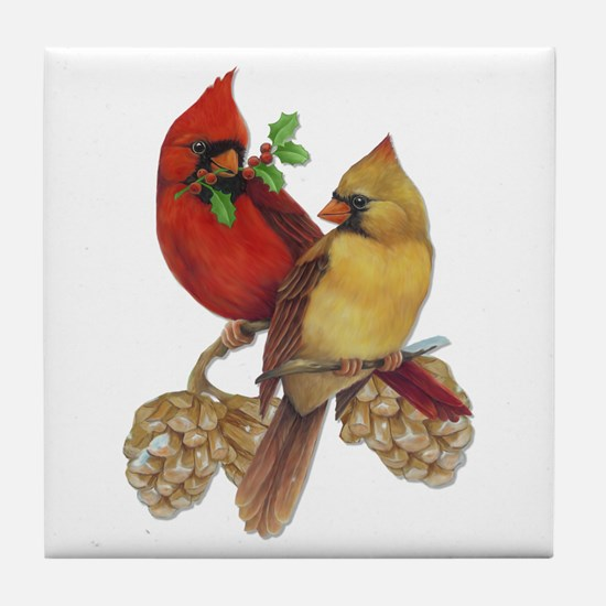 Winter Cardinals Tile Coaster