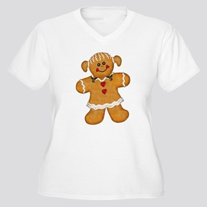 Gingerbread Woman Women's Plus Size V-Neck T-Shirt