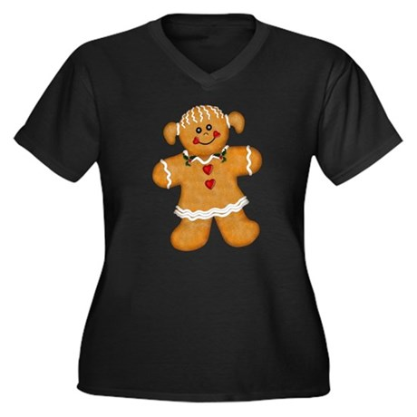 Gingerbread Woman Women's Plus Size V-Neck Dark T-