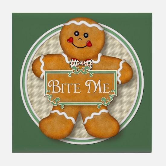 Gingerbread Man - Bite Me Tile Coaster