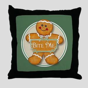 Gingerbread Man - Bite Me Throw Pillow