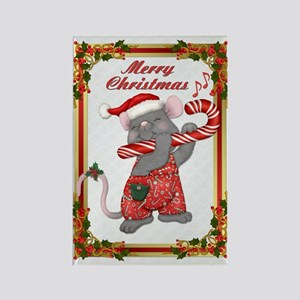 Santa Mouse Tunes Rectangle Magnet
