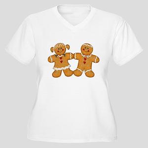 Gingerbread Man & Woman Women's Plus Size V-Neck T