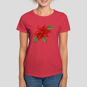 Poinsettia Christmas Women's Dark T-Shirt