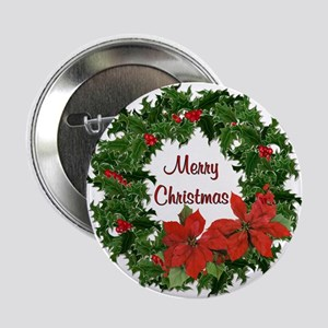 "Christmas Holly Wreath 2.25"" Button"