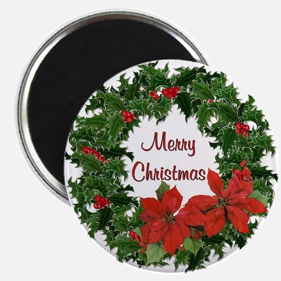 Christmas Holly Wreath Magnet