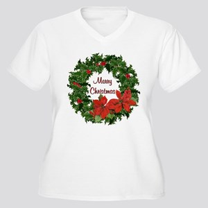 Christmas Holly Wreath Women's Plus Size V-Neck T-