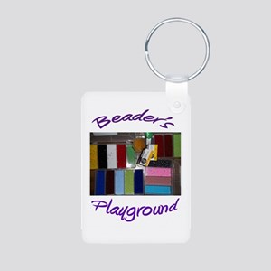 Buttons, etc. Aluminum Photo Keychain