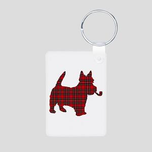 Scottish Terrier Tartan Aluminum Photo Keychain