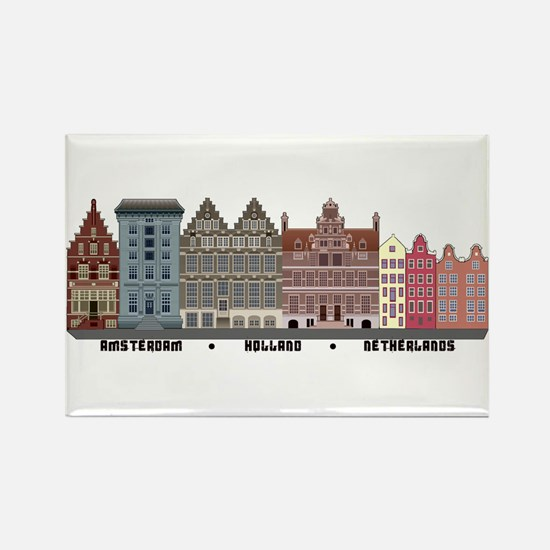 Amsterdam Netherlands Rectangle Magnet (10 pack)