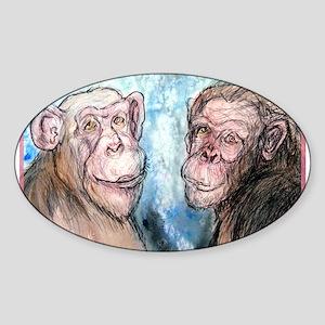 Chimps, wildlife art, Sticker (Oval)