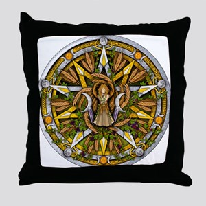 Lammas/Lughnasadh Pentacle Throw Pillow