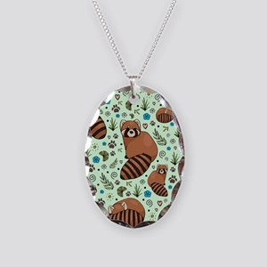 Red Pandas Necklace Oval Charm