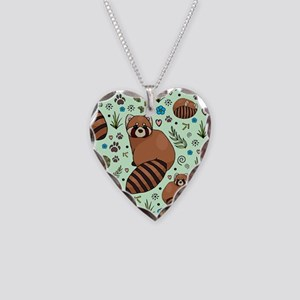 Red Pandas Necklace Heart Charm